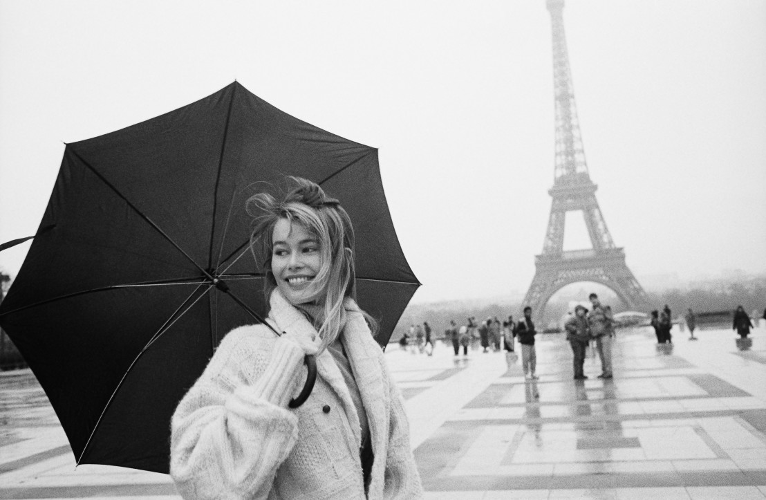German top model Claudia Schiffer visiting Paris