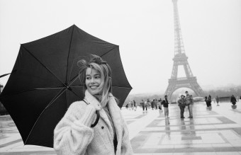 German top model Claudia Schiffer visiting Paris