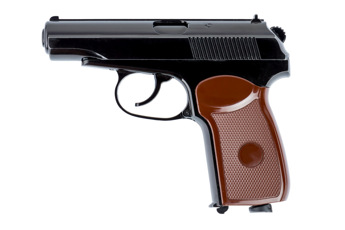 Makarov pistol close-up depicted on a white background