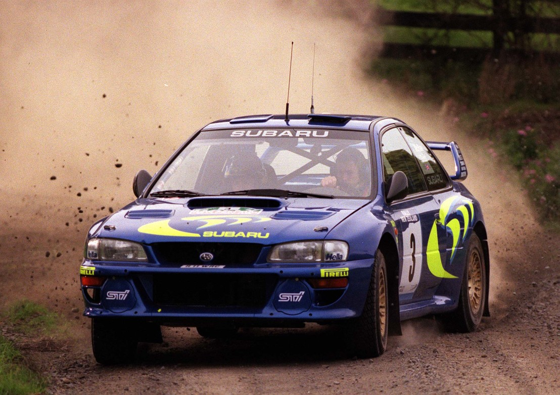 Colin McRae manouvers his Subaru Impreza through S