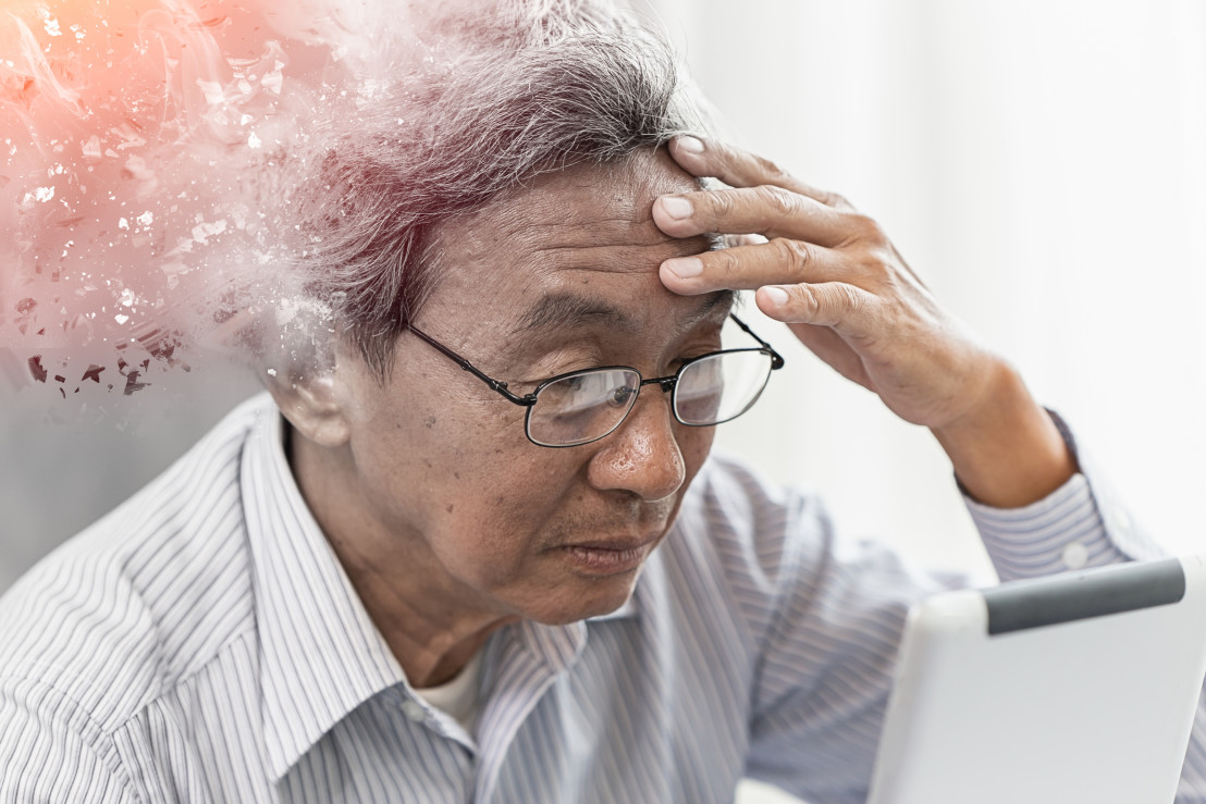 Asian elder lost memory from dementia or alzheimer disease concept