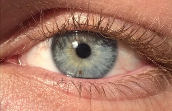 A_close_up_of_a_blue-green_human_iris_(with_visible_freckle).