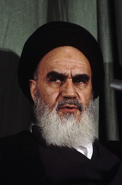 Ayatollah Khomeini in Tehran, Iran, after his return from exile in France.