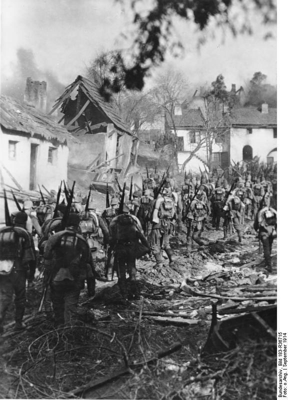 Ostpreußen, deutsche Infanterie auf dem Marsch