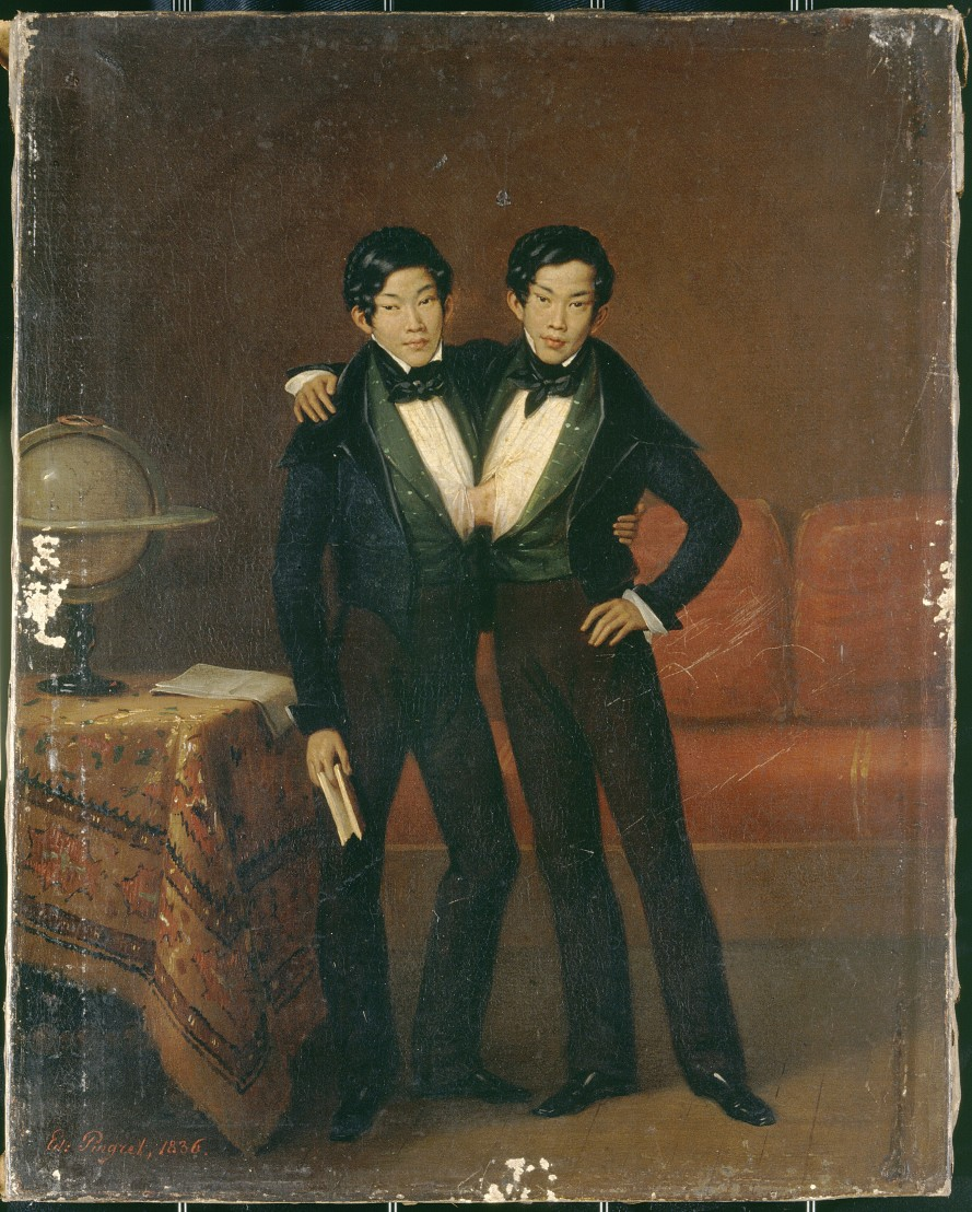 V0017109 Chang and Eng, Siamese twins, 1836. Oil painting by Edouard-
