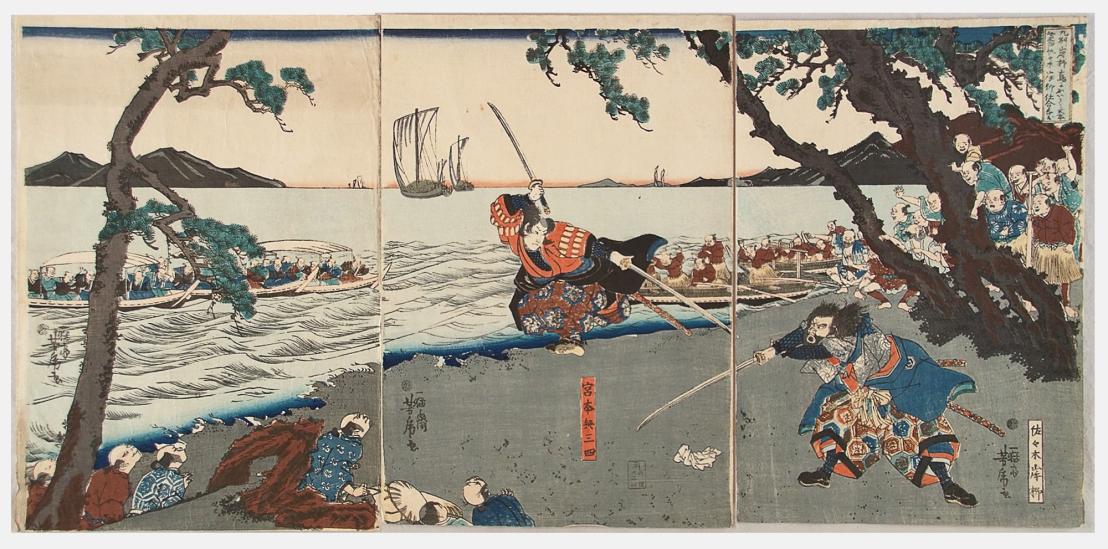 Miyamoto-Musashi-Fights-Sasaki-Kojiro-at-Ganryujima-Ukiyo-e
