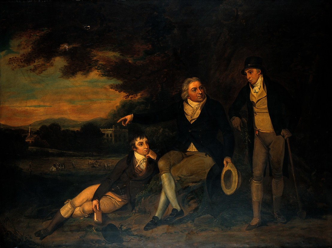 "V0018221 ""Edward Jenner advising a farmer to vaccinate his family"". O"