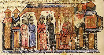 The_mother_of_the_Russian_sovereign_Svjatoslav,_Olga_along_with_her_escort_from_the_Chronicle_of_John_Skylitzes