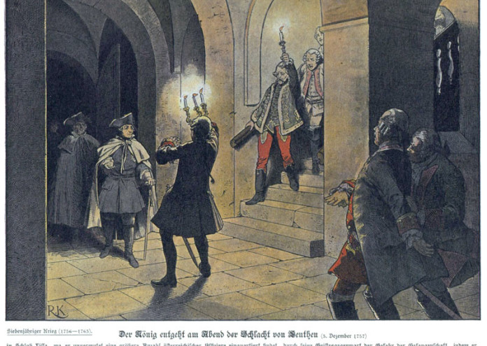 Frederick_the_Great_arriving_at_the_Schloss_von_Lissa_after_the_Battle_of_Leuthen_by_Richard_Knötel