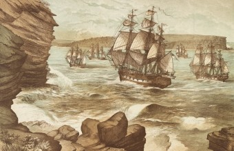 The_First_Fleet_entering_Port_Jackson,_January_26,_1788,_drawn_1888_A9333001h