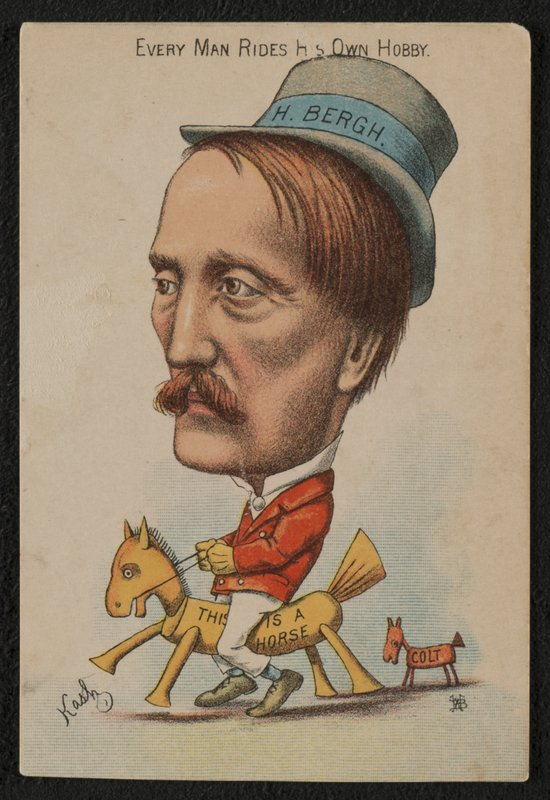 Every_Man_Rides_His_Own_Hobby,_trade_card,_Kash,_H._Bergh