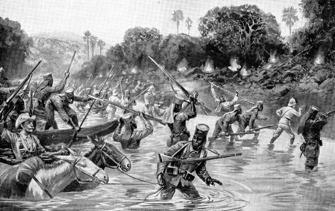 Der_Durchbruch_der_Schutztruppe_Deutsch-Ostafrika_über_den_Rowuma_MItte_November_1917._Darstellung_von_Carl_Arriens