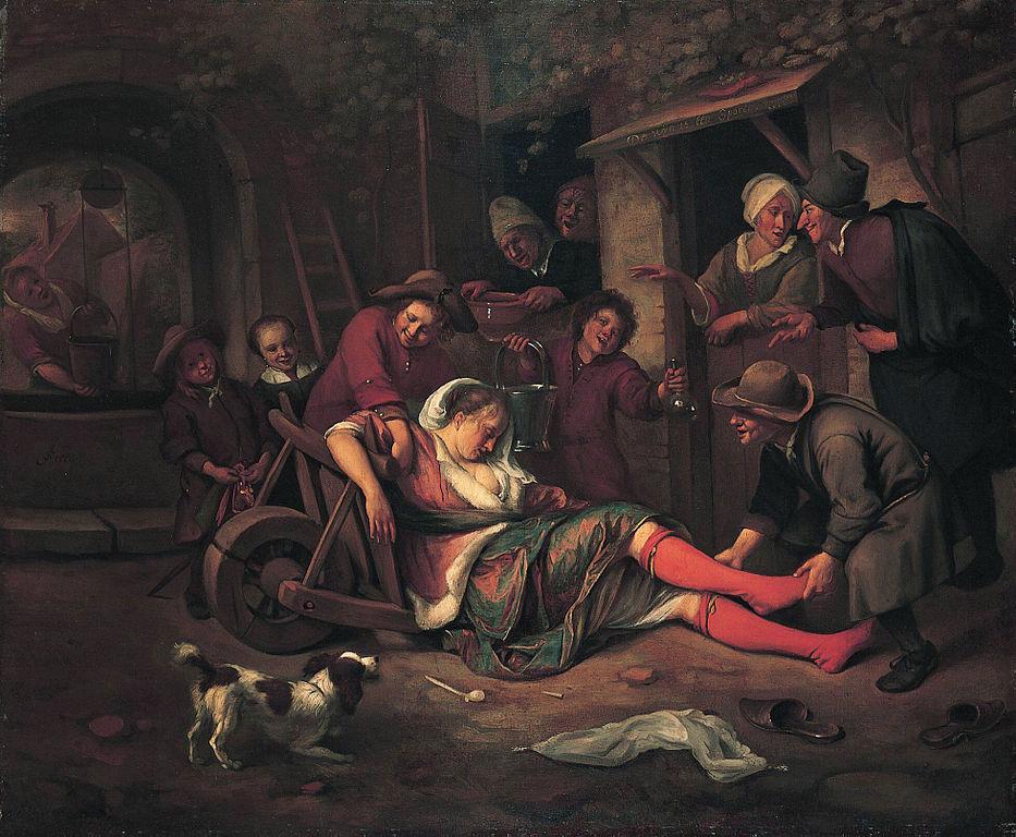 The_wine_is_a_mocker_1663-1664_Jan_Steen