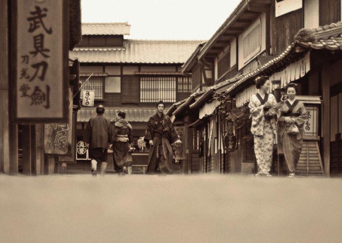 Japanese People Walking in Edo Period
