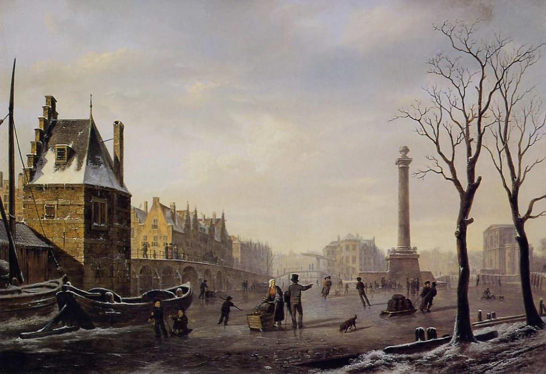 Bartholomeus_Johannes_van_Hove,_Pompenburg_met_Hofpoort_in_de_winter