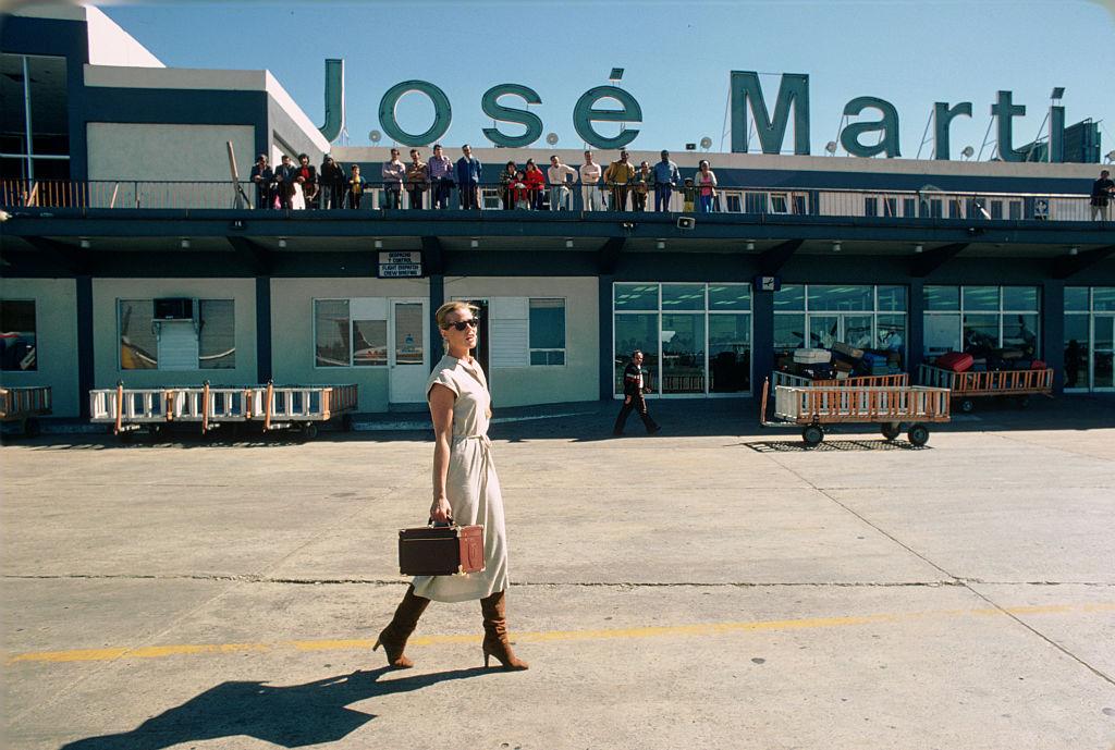 Margaux Hemingway at José Martí International Airport in Havana, Cuba