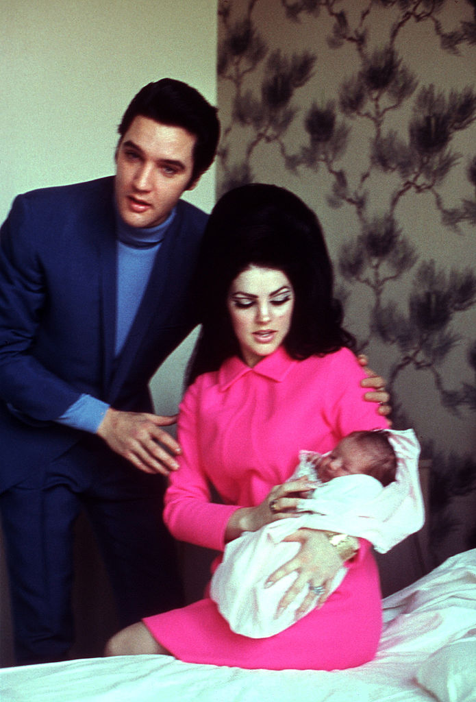 Elvis and Priscilla with the newborn Lisa Marie
