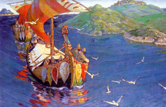 Nicholas_Roerich,_Guests_from_Overseas_(corrected_colour)