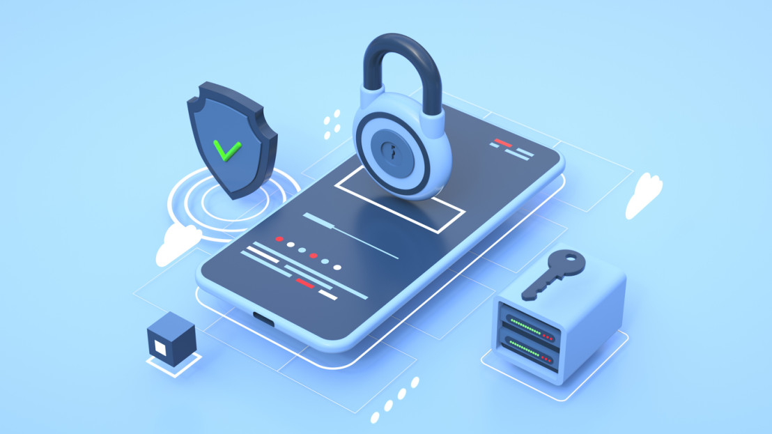 Mobile Phone Personal Data and Cyber Security Threat Concept.