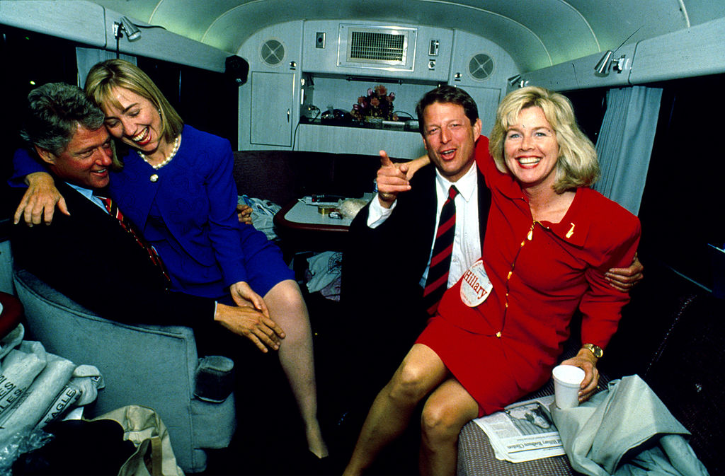 President Bill Clinton with his wife Hillary and Democratic presidential nominee Vice President Al Gore with his wife Tipper